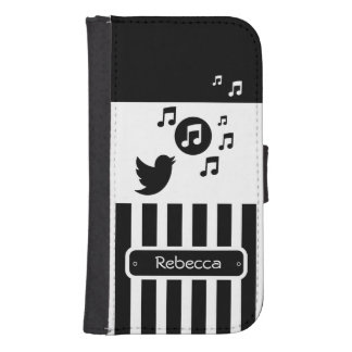 Stylish Songbird Black White Personalised Stripes Samsung S4 Wallet Case
