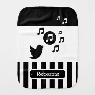 Stylish Songbird Black White Personalized Stripes Baby Burp Cloth