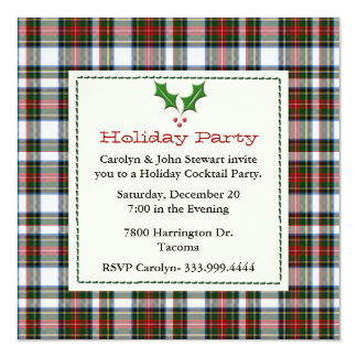 Stylish Stewart Dress Tartan Custom Holiday Party Card