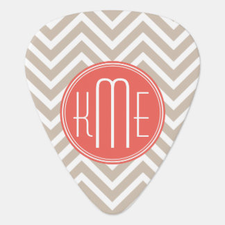 Stylish Taupe and Coral Custom Monogram Guitar Pick