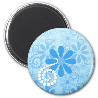 Stylish Turquoise Blue Floral Retro Daisy Flowers Magnet