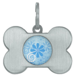 Stylish Turquoise Blue Floral Retro Daisy Flowers Pet Name Tags