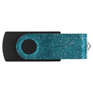 Stylish Turquoise Blue Glitter USB Flash Drive