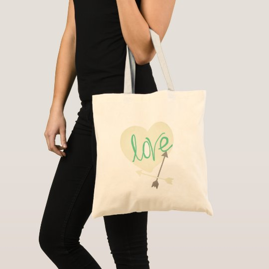 Stylish Turquoise Love Heart Arrows Tote Bag