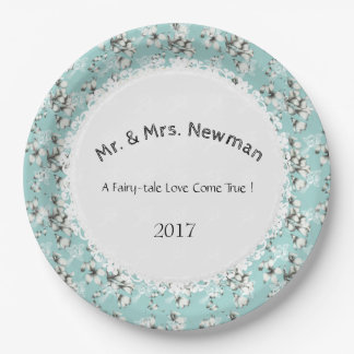 Stylish-Wedding--Anniversary-Template_Blue--Floral 9 Inch Paper Plate