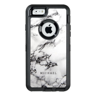 Stylish White Marble Texture with Custom Name OtterBox Defender iPhone Case