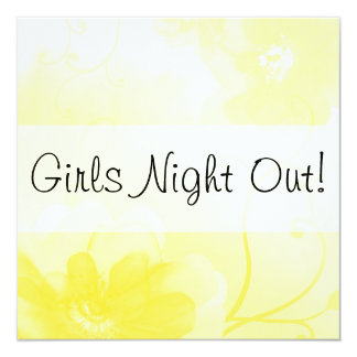Stylish Yellow and gray Floral Girls Night Out Card