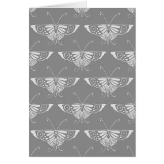 Stylized Art Deco butterfly, shades of grey / gray Note Card