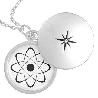 Stylized Atom Symbol Locket Necklace