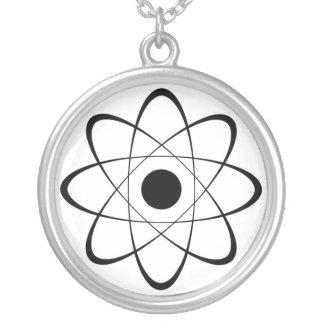 Stylized Atom Symbol Silver Plated Necklace