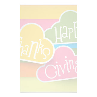 Stylized Colorful Text Happy Thanks Giving Stationery