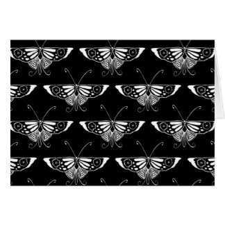 Stylized Deco butterfly  - black and white Cards