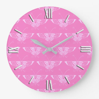 Stylized Deco butterfly  - orchid pink Large Clock
