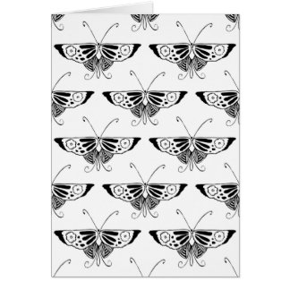 Stylized Deco butterfly  - white and black Greeting Card