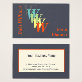 Stylized Event Planner Charcoal Indigo Monogram Business Card