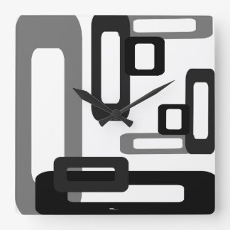 Stylized Rectangles Grey/Black Square Wall Clock
