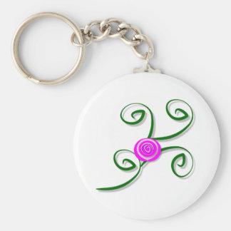 Stylized Rose and Swirls Keychain