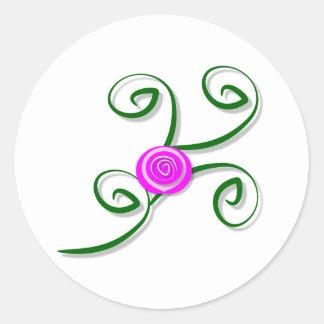 Stylized Rose and Swirls Sticker