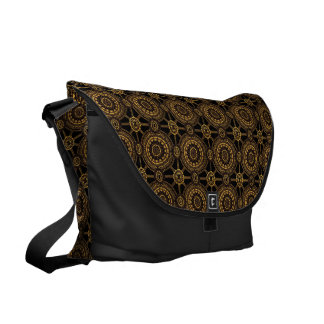 Stylized Vintage Floral in Black and Gold Courier Bag