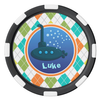 Submarine on Colorful Argyle Pattern Poker Chips