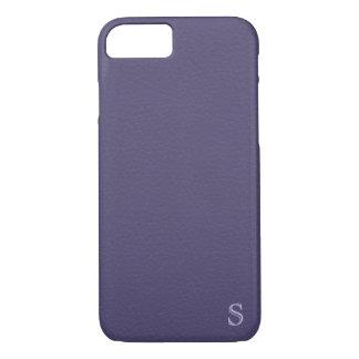 Subtle Monogram Eggplant Purple Faux Leather Look iPhone 8/7 Case