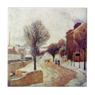 Suburb under snow by Paul Gauguin Tile