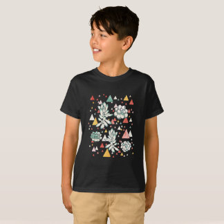 Succulent and triangles pattern T-Shirt