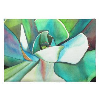 Succulent blue and green desert watercolour art placemat