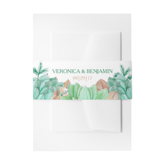Succulent Bouquet Botanical Floral Wedding Invitation Belly Band