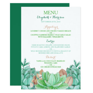 Succulent Bouquet Botanical Floral Wedding Menu 11 Cm X 16 Cm Invitation Card