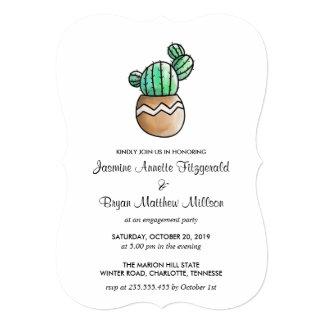 Succulent Cactus Rustic Minimal Engagement Party Card