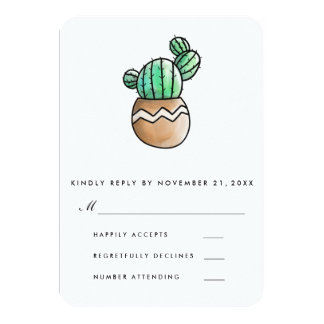 Succulent Cactus Rustic Minimal Wedding RSVP Card