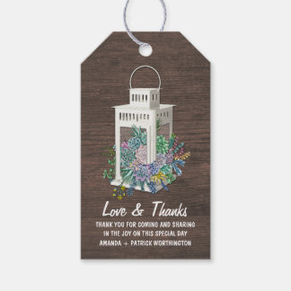 Succulent Country Rustic Lantern Wedding Thank You