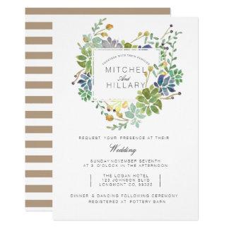 Succulent Garden | Floral Watercolor Wedding Card
