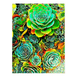 Succulent Garden Pop Art Postcard