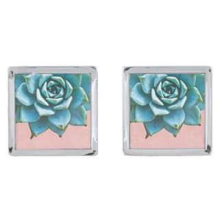 Succulent Wedding Watercolor Pink Lace Silver Finish Cufflinks