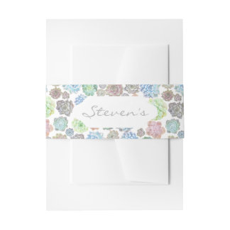 Succulents custom belly bands invitation belly band