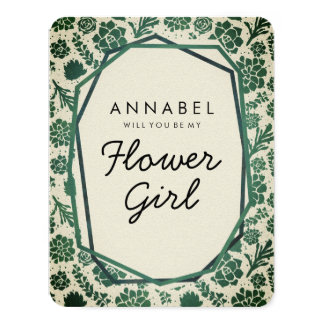 Succulents Natural Will You Be My Flower Girl Card