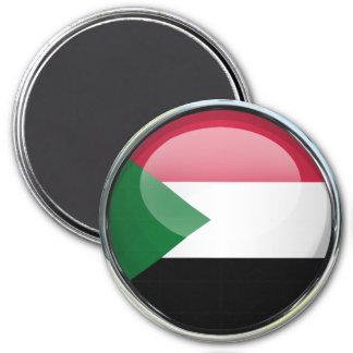 Sudan Flag Glass Ball 7.5 Cm Round Magnet