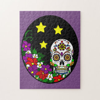 Sugar Skull and Flowers Jigsaw Puzzle