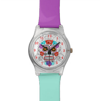 Sugar Skull and Roses Two Tone Funky Wrist Watch
