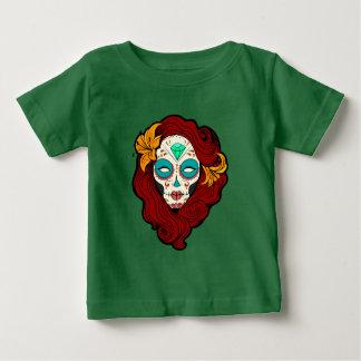 Sugar Skull Girl in Burgundy, White and Green Baby T-Shirt