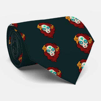 Sugar Skull Girl in Burgundy, White and Green Tie