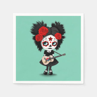 Sugar Skull Girl Playing South Korean Flag Guitar Paper Napkin