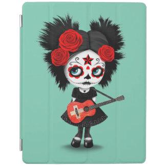 Sugar Skull Girl Playing Swiss Flag Guitar iPad Cover