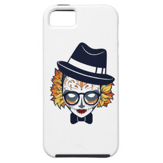 Sugar Skull Lady with hat and glasses iPhone 5 Cover