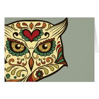 Sugar Skull Owl - Tattoo Design Card