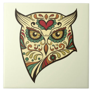 Sugar Skull Owl - Tattoo Design Tile