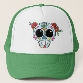 Sugar Skull trucker hat with flowers