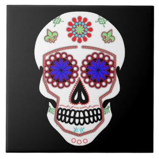 Sugar Skull With Blue Eyes and Green Fleur de Lis Large Square Tile